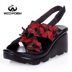 19bdada8d8eaf WooPoem 2017 Summer Shoes Woman Breathable Genuine Leather Sandals Fashion  High Heel Wedeges Flower Sandale Women