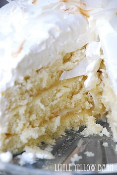 Coconut Layer Cake with Lemon Cream Recipe ~ So delicious... Coconut cake with lemon curd filling and lemon cream frosting.