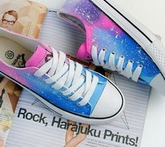 Fashion Star Canvas Shoes New Hot Sale Women Rivets Canvas Shoes +PU Surface Fashion Belt Buckle High Running Shoes For Leisur on Luulla Outfits With Converse, Converse Shoes, Converse Style, Galaxy Shoes, Galaxy Converse, Mode Kawaii, Painted Canvas Shoes, Kawaii Shoes, Milan Fashion Weeks