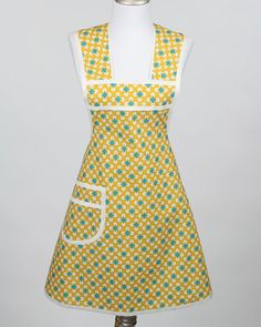 Retro Full Womens Apron Yellow Polka Dot and Atomic by TerraceHill