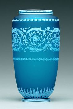 """Webb cameo glass vase, :  band of scroll and floral decoration, bellflower, bead and petal borders, base marked """"Thomas Webb & Sons Cameo"""" (England, 1885-1925), 8-1/4 in."""