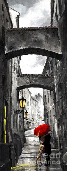 Black Digital Art Love Story By Yuriy Shevchuk Umbrella Tattoo Red Watercolour