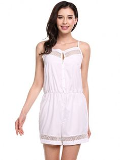 Women Sleeveless Elastic Wasit Crochet Lace Patchwork Short Overall Playsuit Rompers Jumpsuit