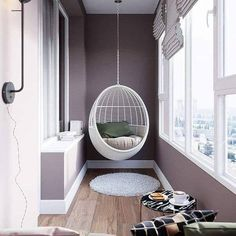Superb Indoor Hanging Chair Ideas - ArtCraftVilaYou can find indoor hanging chairs and more on our Superb Indoor Hanging Chair Ideas - ArtCraftVila Small Balcony Furniture, Interior Balcony, Apartment Balcony Decorating, Home Interior Design, Interior Decorating, Interior Garden, Small Balcony Design, Small Balcony Decor, Tiny Balcony