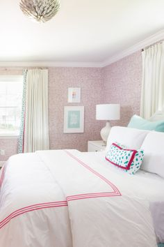 It's reveal day over at the I finally get to share with you all, the tween age bedroom makeover I've been working on for the last 6 weeks. Pink Flamingo Wallpaper, Tween Ages, Aqua Bedding, Sophisticated Bedroom, Mount Pleasant, Challenge Week, Portfolio Design, Design Process, Girls Bedroom