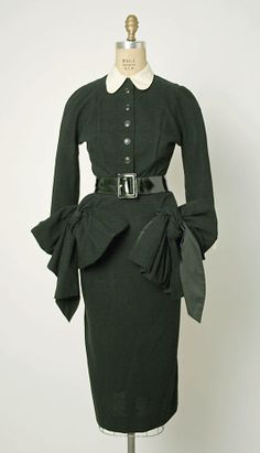 """""""Garconne"""" Jacques Fath fall/winter wool, linen, leather (a) Length at CB: 46 in. cm) (b) Length: 29 in. 1950 Style, 1940s Fashion, Look Fashion, Vintage Fashion, Club Fashion, Jacques Fath, Vintage Couture, Vintage Glam, Vintage Dresses"""