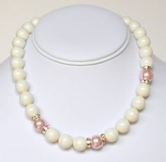 White Pearl Necklace and Pink Handmade Beaded Jewelry in Silver Beaded Necklace Swarovski Pearls