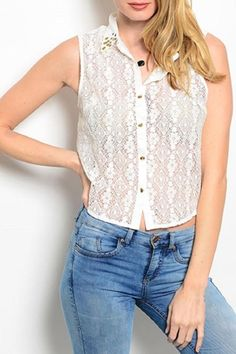 This combination sleeveless top features a lace front and pleated solid back with lace yoke and studded collar.   White Lace Top by Adore Clothes & More. Clothing - Tops - Blouses & Shirts Clothing - Tops - Sleeveless Clothing - Tops - Casual Washington