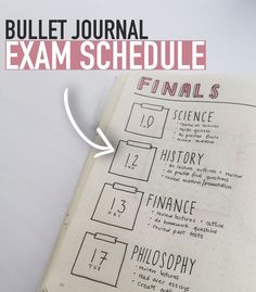journal ideas for students Write down you EXAM SCHEDULE in your bullet journal so you know when your exams . Write down you EXAM SCHEDULE in your bullet journal so you know when your exams are AND what you need to do to prepare for them :) Bullet Journal Page, Bullet Journal Notebook, Bullet Journal School, Bullet Journal Themes, Bullet Journal Inspiration, Bullet Journal For College Students, Exam Planner, Study Planner, School Planner
