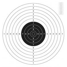 Back in stock !  ISSF C50 classic target. Printed in black on a white papar Offset 200 grs, pack of 50 pcs minimum  format 540 mm x 510 mm