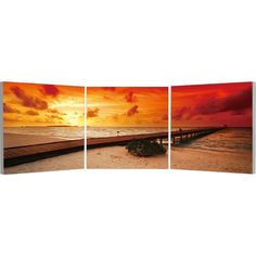 Elementem Photography Sunset on the Beach Triptych Wall Art ($220) ❤ liked on Polyvore featuring home, home decor, wall art, backgrounds, art, three-panel, 3-panel, photo wall art, beach home accessories and sunset wall art