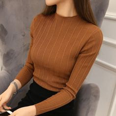 Cheap chandail femme, Buy Quality women sweater pullover directly from China women sweater Suppliers: 2017 New High Quality Autumn Winter Women Sweater Pullovers Knitwear Solid Half Turtleneck Long Sleeve Sexy Slim Chandail Femme Knit Fashion, Look Fashion, Korean Fashion, Autumn Fashion, Knitwear Fashion, Fashion Details, Knitting Pullover, Pullover Pullover, Long Sweaters