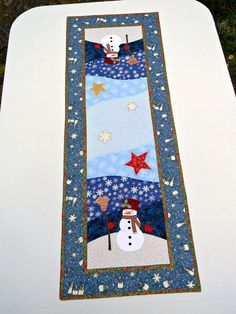 Snowman Christmas Table Runner Patchwork by AllasOriginals on Etsy