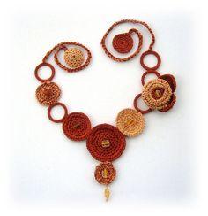 Hand Crochet Necklace Brown Spring Flower and by CraftsbySigita, Etsy Shop  www.etsy.com/shop/CraftsbySigita