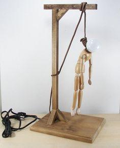 Hangman Manikin Figure Lamp with gallows and LED bulb by Whamodyne, $119.00