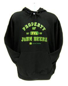 `Property of John Deere` Mens Pullover Fleece Black Hoodie Size XLarge