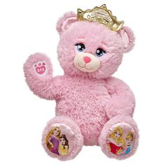 Start a fairytale friendship with this Disney Princess Inspired Bear. The cuddly pink bear features Disney Princesses on its paws and includes light-up crown! Dress it in your favorite princess gown to make the perfect gift.© Disney Build-A-Bear Workshop Cinderella Disney, Disney Princesses, Disney Disney, Custom Teddy Bear, Cute Stuffed Animals, Build A Bear, Ariel The Little Mermaid, Halloween Costumes For Girls, Lol Dolls