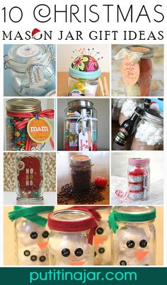 Here are 10 excellent craft ideas for Christmas gifts you can make yourself using mason jars and a little bit of creativity! 10 DIY Mason Jar Christmas Gift Craft Ideas & Tutorials | via putitinajar.com