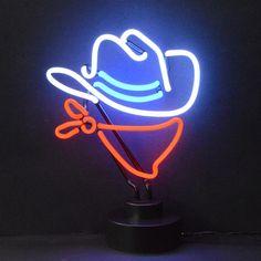 Cowboy Neon Table Top Sculpture