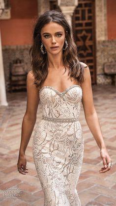 berta fall 2018 bridal strapless sweetheart neckline full embellishment elegant fit and flare sheath wedding dress open back sweep train (11) zv