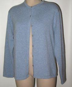 TALBOTS Pure Cashmere Cardigan Sweater - M/L -Heather Blue #Talbots #Cardigan