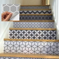 Wall Tile Decals Vinyl Sticker removable Tile or Wallpaper for Kitchen Bath Stair Risers : Removable Wallpaper, Vinyl Decals, Tile Design, Stair Riser Vinyl, Vinyl, Tile Decals, Adhesive Vinyl, Stairs, Riser