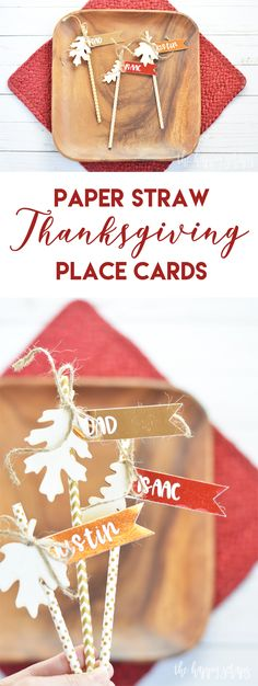 These Paper Straw Thanksgiving Place Cards are sure to add some shine to your Thanksgiving table. They are simple and fun to create with your Cricut as well! Thanksgiving Place Cards, Thanksgiving Projects, Thanksgiving Parties, Thanksgiving Decorations, Happy Thanksgiving, Thanksgiving Recipes, Home Decor Colors, Cricut Tutorials, Paper Straws
