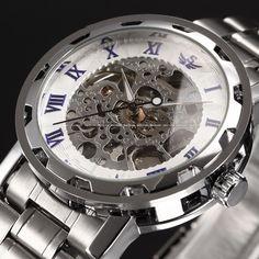 Full Steel Hand Wind Watch Classic wristwatches Steampunk Skeleton Mechanical