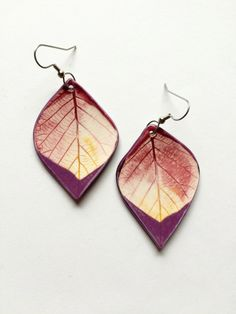 Large Ceramic Sunset Leaf Earrings by AlainaSheenDesigns on Etsy