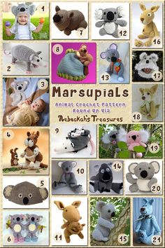 Marsupials - Animal Crochet Pattern Round Up via @beckastreasures