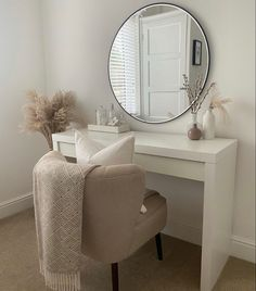 Room Design Bedroom, Room Ideas Bedroom, Home Room Design, Home Decor Bedroom, Living Room Decor, Mirror In Bedroom, All White Bedroom, White Room Decor, Aesthetic Room Decor