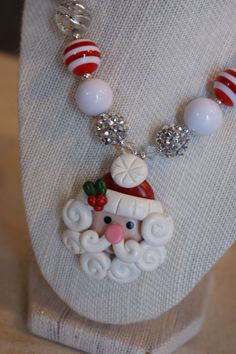 Santa Claus Chunky Necklace  Adorable by CravingCuteness on Etsy