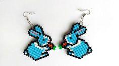 Bunny Rabbit Earrings - Bunny Jewelry, Hook or Clip-On, Pixel Jewelry, Perler Beads, Hama Beads by 8BitEarrings on Etsy