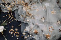 gold moon stars celestial bridal crown