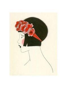 1920s Art Deco art print Poppy IV 4 X 6 by matouenpeluche