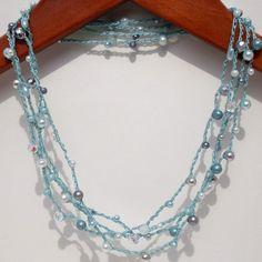 Crochet Bracelet Necklace Silver Mint  long chic by lapisbeach,