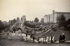 Mass at Lourdes Grotto at Saint Mary-of-the-Woods, IN, 1928. (Repinned from Sisters of Providence) Such a beautiful picture and to think of how much the campus has changed....