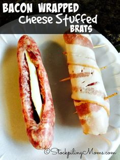 Bacon Wrapped Cheese Stuffed Brats recipe is a must have on the grill this summer! Perfect for a barbeque and full of great flavor. - Perfect with Johnsonville brats!