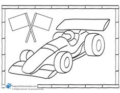 race car coloring page for the younger siblings during pinewood derby