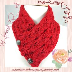 Harvest #Red #Neckwarmer with owl faces and Vintage #steampunk silver buttons, hand knit with caron simply soft yarn
