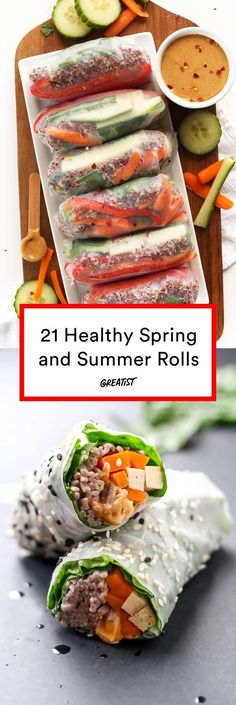 If you think spring rolls and summer rolls are only for takeout, think again. These 21 spring and summer rolls recipes prove you can create these easy apps too. Vegetarian Recipes, Cooking Recipes, Healthy Recipes, Healthy Spring Rolls, Healthy Rolls, Vegetarian Spring Rolls, Fresh Spring Rolls, Fresh Rolls, Healthy Snacks