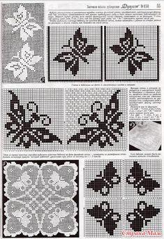 "Photo from album ""nov 2016 6 on Yandex. Butterfly Cross Stitch, Crochet Butterfly, Embroidery Stitches, Embroidery Designs, Funny Cross Stitch Patterns, Fillet Crochet, Crochet Magazine, C2c, Needlework"