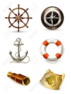 Conjunto de objetos utilizados en la navegación marina. Ilustraciones Vectoriales: ancla, brújula, mapa del tesoro, etc.