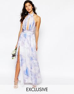 Fame and Partners | Fame and Partners River Maxi Dress in Pastel Print at ASOS
