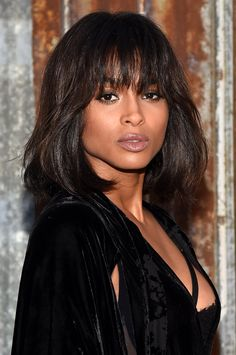 Pin for Later: You'll Be Captivated by Ciara's Best Hair and Makeup Looks September 2015 While attending the Givenchy show during Spring 2016 New York Fashion Week, Ciara wore her hair in a long wob with lash-grazing bangs.