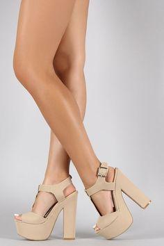 Bamboo Peep Toe T-Strap Chunky Platform Heel- Platform High Heels, High Heel Boots, Heeled Boots, Shoe Boots, Shoes Heels, Cute Heels, Prom Shoes, Ankle Strap Heels, Ankle Straps
