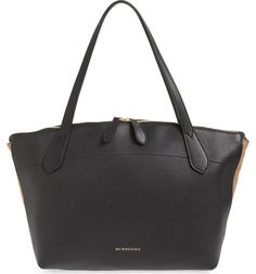 Main Image - Burberry Welburn Check Leather Tote