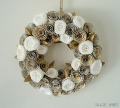 """10"""" Book Page and Coffee Filter Rolled Paper Flower Wreath by TheSalvagedWhimsy on Etsy https://www.etsy.com/listing/116275571/10-book-page-and-coffee-filter-rolled"""