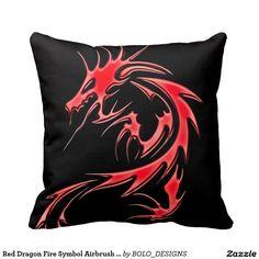 Red Dragon Fire Symbol Airbrush Art Pillow