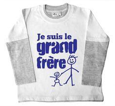 Dirty Fingers - Je suis le grand frère - Vêtements pour enfants, Double haut patineur de couleur, Blanc et Gris, 4/6 ans
